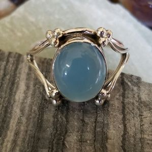 Aquamarine Stone Ring Sterling Silver NEW